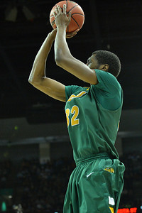 March 22, 2014: North Dakota State Bison forward TrayVonn Wright (32) takes a shot during a third round game of the NCAA Division I Men's Basketball Championship between the 4-seed San Diego State and the 12-seed North Dakota State at Spokane Arena in Spokane, Wash. San Diego State defeated North Dakota State 66-43 to advance to the Sweet Sixteen.