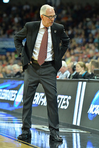 March 22, 2014: San Diego State Aztecs head coach Steve Fisher talks to his bench during a third round game of the NCAA Division I Men's Basketball Championship between the 4-seed San Diego State and the 12-seed North Dakota State at Spokane Arena in Spokane, Wash. San Diego State defeated North Dakota State 66-43 to advance to the Sweet Sixteen.