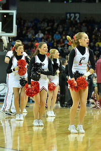 March 20, 2014: Cincinnati Bearcats cheerleaders perform during a second round game of the NCAA Division I Men's Basketball Championship between the 5-seed Cincinnati Bearcats and the 12-seed Harvard Crimson at Spokane Arena in Spokane, Wash. Harvard defeated Cincinnati 61-57.