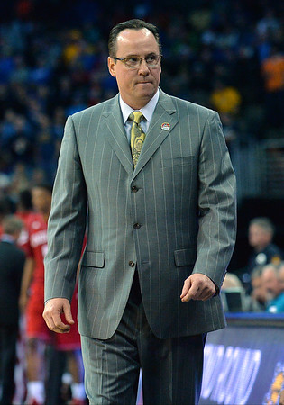 March 20, 2015: Wichita State Shockers head coach Gregg Marshall stalks the sidelines during a second round game between No. 7 Wichita State and No. 10 Indiana in the 2015 NCAA Men's Basketball Championship Tournament at CenturyLink Center in Omaha, Neb. Wichita State defeated Indiana 81-76.