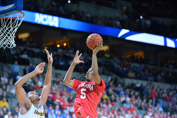 March 20, 2015: Indiana Hoosiers forward Troy Williams (5) puts up a shot during a second round game between No. 7 Wichita State and No. 10 Indiana in the 2015 NCAA Men's Basketball Championship Tournament at CenturyLink Center in Omaha, Neb. Wichita State defeated Indiana 81-76.
