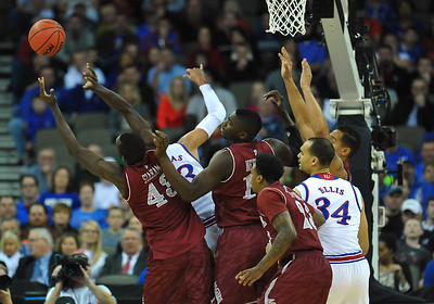 March 20, 2015: New Mexico State Aggies forward Pascal Siakam (43) battles for a defensive rebound during a second round game between No. 2 seed Kansas and No. 15 seed New Mexico State in the 2015 NCAA Men's Basketball Championship Tournament at CenturyLink Center in Omaha, Neb. Kansas defeated New Mexico State 76-57. Kansas defeated New Mexico State 76-57. Kansas defeated New Mexico State 76-57.