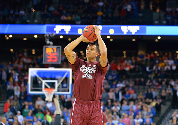 March 20, 2015: New Mexico State Aggies forward Remi Barry (3) warms up before a second round game between No. 2 seed Kansas and No. 15 seed New Mexico State in the 2015 NCAA Men's Basketball Championship Tournament at CenturyLink Center in Omaha, Neb. Kansas defeated New Mexico State 76-57. Kansas defeated New Mexico State 76-57. Kansas defeated New Mexico State 76-57.