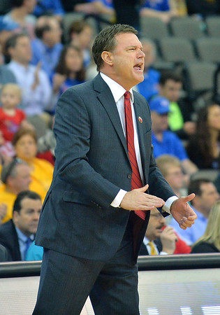 March 20, 2015: Kansas Jayhawks head coach Bill Self yells instructions to his players during a second round game between No. 2 seed Kansas and No. 15 seed New Mexico State in the 2015 NCAA Men's Basketball Championship Tournament at CenturyLink Center in Omaha, Neb. Kansas defeated New Mexico State 76-57. Kansas defeated New Mexico State 76-57. Kansas defeated New Mexico State 76-57.