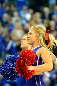 March 20, 2015: A Kansas Jayhawks cheerlead performs before a second round game between No. 2 seed Kansas and No. 15 seed New Mexico State in the 2015 NCAA Men's Basketball Championship Tournament at CenturyLink Center in Omaha, Neb. Kansas defeated New Mexico State 76-57. Kansas defeated New Mexico State 76-57. Kansas defeated New Mexico State 76-57.