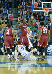 March 20, 2015: New Mexico State Aggies forward Pascal Siakam (43) watches a loose ball during a second round game between No. 2 seed Kansas and No. 15 seed New Mexico State in the 2015 NCAA Men's Basketball Championship Tournament at CenturyLink Center in Omaha, Neb. Kansas defeated New Mexico State 76-57. Kansas defeated New Mexico State 76-57. Kansas defeated New Mexico State 76-57.