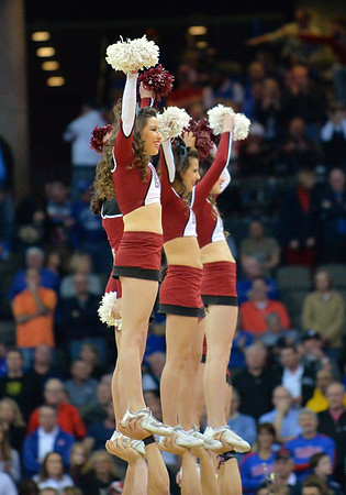 March 20, 2015: New Mexico State Aggies cheerleaders perform before a second round game between No. 2 seed Kansas and No. 15 seed New Mexico State in the 2015 NCAA Men's Basketball Championship Tournament at CenturyLink Center in Omaha, Neb. Kansas defeated New Mexico State 76-57. Kansas defeated New Mexico State 76-57. Kansas defeated New Mexico State 76-57.