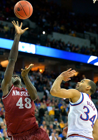 March 20, 2015: New Mexico State Aggies forward Pascal Siakam (43) puts up a shot during a second round game between No. 2 seed Kansas and No. 15 seed New Mexico State in the 2015 NCAA Men's Basketball Championship Tournament at CenturyLink Center in Omaha, Neb. Kansas defeated New Mexico State 76-57. Kansas defeated New Mexico State 76-57. Kansas defeated New Mexico State 76-57.