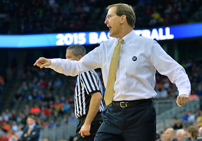 March 20, 2015: Oregon Ducks head coach Dana Altman reacts to a call during a second round game between No. 8 Oregon and No. 9 Oklahoma State in the 2015 NCAA Men's Basketball Championship Tournament at CenturyLink Center in Omaha, Neb. Oregon defeated Oklahoma State 79-73.