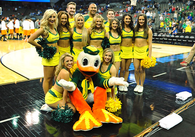 March 20, 2015: Oregon Ducks cheerleaders pose for a photo before a second round game between No. 8 Oregon and No. 9 Oklahoma State in the 2015 NCAA Men's Basketball Championship Tournament at CenturyLink Center in Omaha, Neb. Oregon defeated Oklahoma State 79-73.