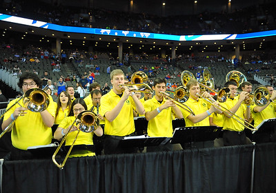 March 20, 2015: The Oregon Ducks pep band performs before a second round game between No. 8 Oregon and No. 9 Oklahoma State in the 2015 NCAA Men's Basketball Championship Tournament at CenturyLink Center in Omaha, Neb. Oregon defeated Oklahoma State 79-73.