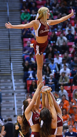 SAN DIEGO, CA - MARCH 16:  Charleston Cougars cheerleaders perform during a first round game of the Men's NCAA Basketball Tournament against the Auburn Tigers at Viejas Arena in San Diego, California. Auburn won 62-58.  (Photo by Sam Wasson)
