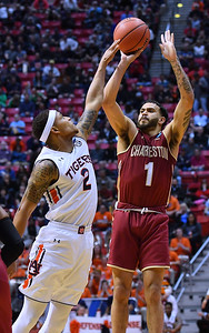 SAN DIEGO, CA - MARCH 16:  Charleston Cougars guard Grant Riller (1) shoots against Auburn Tigers guard Bryce Brown (2) during a first round game of the Men's NCAA Basketball Tournament at Viejas Arena in San Diego, California. Auburn won 62-58.  (Photo by Sam Wasson)