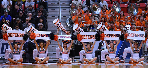 SAN DIEGO, CA - MARCH 16:  Auburn Tigers cheerleaders perform during a first round game of the Men's NCAA Basketball Tournament against the Charleston Cougars at Viejas Arena in San Diego, California. Auburn won 62-58.  (Photo by Sam Wasson)