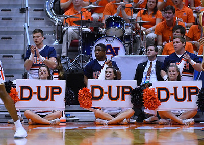 SAN DIEGO, CA - MARCH 16:  Auburn Tigers cheerleaders perform during a first round game of the Men's NCAA Basketball Tournament against the \Charleston Cougars at Viejas Arena in San Diego, California. Auburn won 62-58.  (Photo by Sam Wasson)