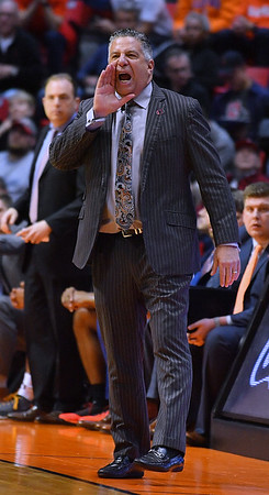 SAN DIEGO, CA - MARCH 16:  Auburn Tigers head coach Bruce Pearl shouts instructions to his team during a first round game of the Men's NCAA Basketball Tournament against the Charleston Cougars at Viejas Arena in San Diego, California. Auburn won 62-58.  (Photo by Sam Wasson)