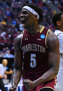 SAN DIEGO, CA - MARCH 16:  Charleston Cougars forward Jarrell Brantley (5) reacts after making a basket against the Auburn Tigers during a first round game of the Men's NCAA Basketball Tournament at Viejas Arena in San Diego, California. Auburn won 62-58.  (Photo by Sam Wasson)