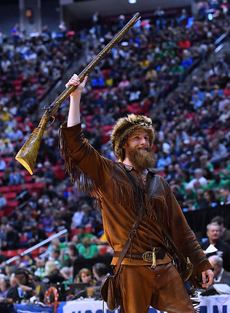 SAN DIEGO, CA - MARCH 16:  The West Virginia Mountaineers mascot performs in the first half during a first round game of the Men's NCAA Basketball Tournament against the Murray State Racers at Viejas Arena in San Diego, California.  (Photo by Sam Wasson)