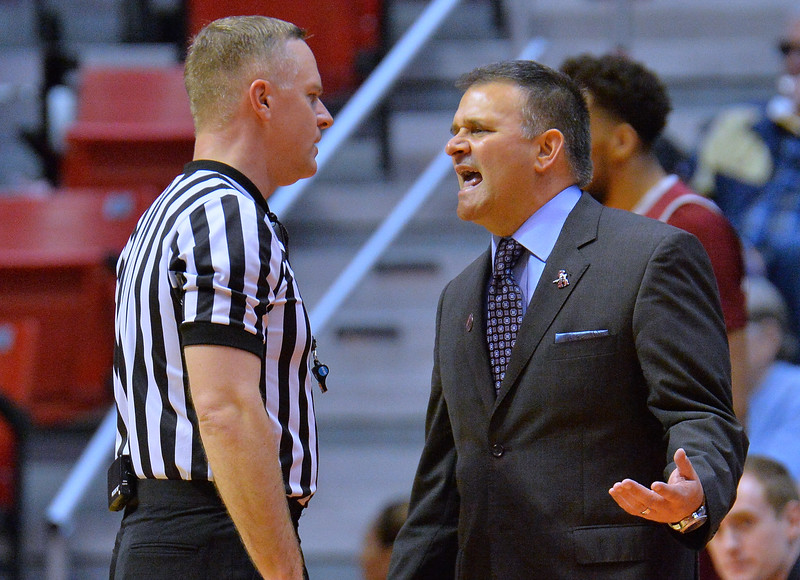 SAN DIEGO, CA - MARCH 16:  Head coach Chris Jans of the New Mexico State Aggies talks to an official during a first round game of the Men's NCAA Basketball Tournament against the Clemson Tigers at Viejas Arena in San Diego, California. Clemson won 79-68.  (Photo by Sam Wasson)