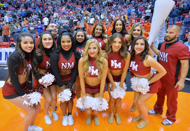 SAN DIEGO, CA - MARCH 16:  New Mexico State Aggies cheerleaders pose for a photo before a first round game of the Men's NCAA Basketball Tournament against the Clemson Tigers at Viejas Arena in San Diego, California. Clemson won 79-68.  (Photo by Sam Wasson)