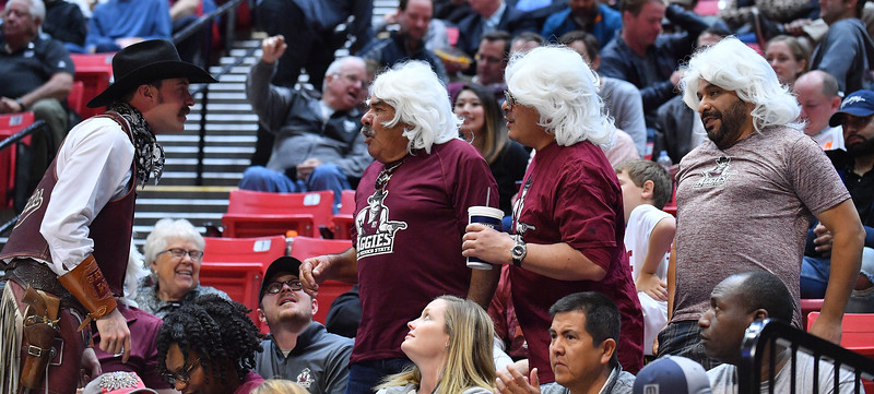 SAN DIEGO, CA - MARCH 16:  New Mexico State Aggies mascot Pistol Pete interacts with fans during a first round game of the Men's NCAA Basketball Tournament against the Clemson Tigers at Viejas Arena in San Diego, California. Clemson won 79-68.  (Photo by Sam Wasson)