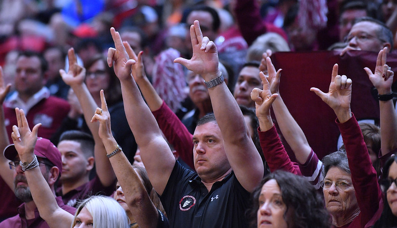 SAN DIEGO, CA - MARCH 16:  New Mexico State Aggies fans cheer during a first round game of the Men's NCAA Basketball Tournament against the Clemson Tigers at Viejas Arena in San Diego, California. Clemson won 79-68.  (Photo by Sam Wasson)