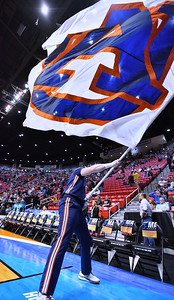 SAN DIEGO, CA - MARCH 18:  An Auburn Tigers cheerleader waves a flag before a second round game of the Men's NCAA Basketball Tournament against the Clemson Tigers at Viejas Arena in San Diego, California. Clemson won 84-53.  (Photo by Sam Wasson)