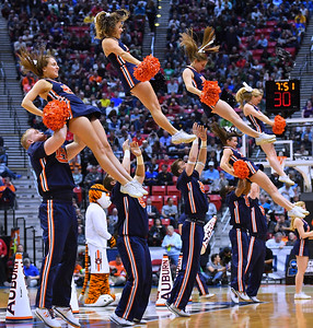SAN DIEGO, CA - MARCH 18:  Auburn Tigers cheerleaders perform during a second round game of the Men's NCAA Basketball Tournament against the Clemson Tigers at Viejas Arena in San Diego, California. Clemson won 84-53.  (Photo by Sam Wasson)