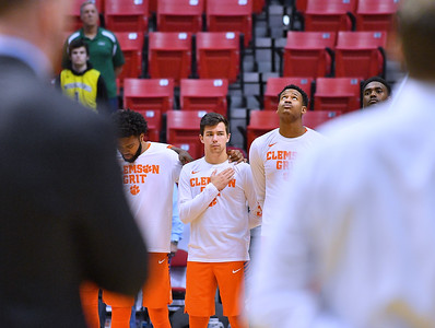 SAN DIEGO, CA - MARCH 18:  Clemson Tigers players stand for the American national anthem before a second round game of the Men's NCAA Basketball Tournament against the Auburn Tigers at Viejas Arena in San Diego, California. Clemson won 84-53.  (Photo by Sam Wasson)