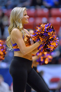 SAN DIEGO, CA - MARCH 18:  A Clemson Tigers cheerleader performs during a second round game of the Men's NCAA Basketball Tournament against the Auburn Tigers at Viejas Arena in San Diego, California. Clemson won 84-53.  (Photo by Sam Wasson)