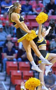 SAN DIEGO, CA - MARCH 16:  Wichita State Shockers cheerleader perform during a first round game of the Men's NCAA Basketball Tournament against the Marshall Thundering Herd at Viejas Arena in San Diego, California. Marshall won 81-75.  (Photo by Sam Wasson)