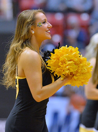 SAN DIEGO, CA - MARCH 16:  A Wichita State Shockers cheerleader performs during a first round game of the Men's NCAA Basketball Tournament against the Marshall Thundering Herd at Viejas Arena in San Diego, California. Marshall won 81-75.  (Photo by Sam Wasson)