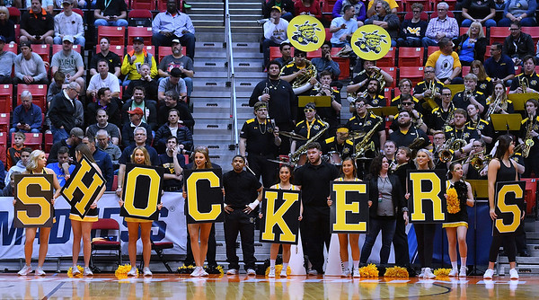 SAN DIEGO, CA - MARCH 16:  Wichita State Shockers perform during a first round game of the Men's NCAA Basketball Tournament against the Marshall Thundering Herd at Viejas Arena in San Diego, California. Marshall won 81-75.  (Photo by Sam Wasson)