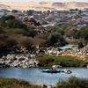 Fisherman on a side branch of the Nile river near Aswan, Egypt.