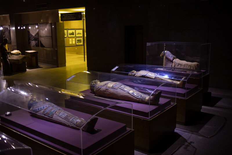 Displays inside the Aswan Museum in Egypt.