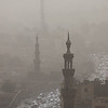 View of Islamic Cairo from the Citadel on a smoggy day in Egypt.