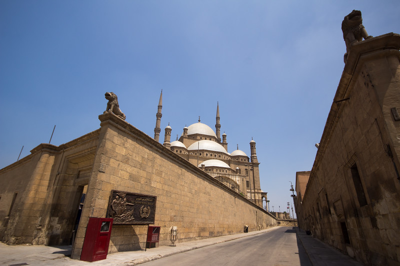 Walls inside the Cairo Citadel in Egypt.