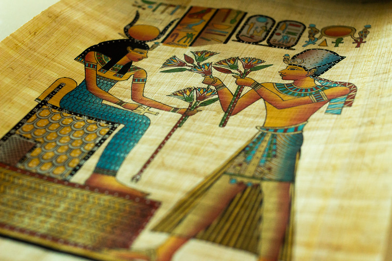 Papyrus painting for sale at a gift shop in Cairo, Egypt.