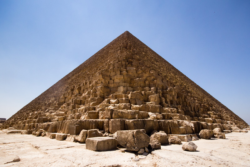 Exterior of the Great Pyramid at Giza, Egypt.