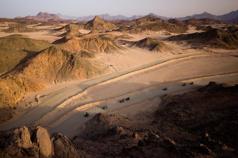 Go karts racing in the desert near Hurghada.