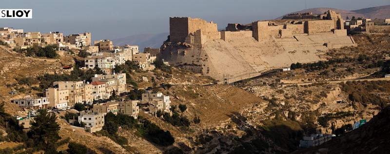 Ancient Al Karak Castle Above the modern town of Kerak in Jordan.