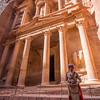 Jordanian police officer guarding the Treasury in Petra Jordan.