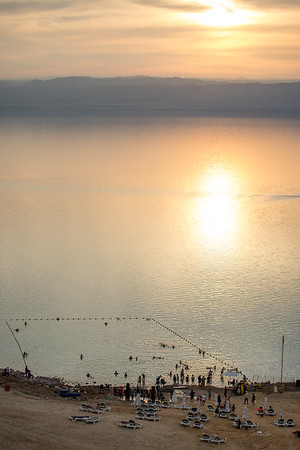 Tourists prepare for a swim in the Dead Sea in Jordan.