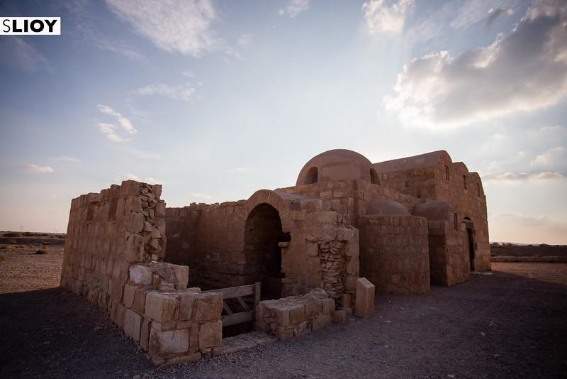 Ruins of Qasr Amra at Sunset in the Eastern Deserts of Jordan.