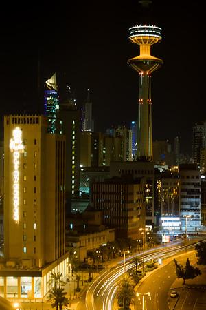 View of the Kuwait Towers and downtown Kuwait along Abdulaziz Hamad Al Saqer St.