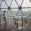 View from inside the Kuwait Towers in Kuwait City.