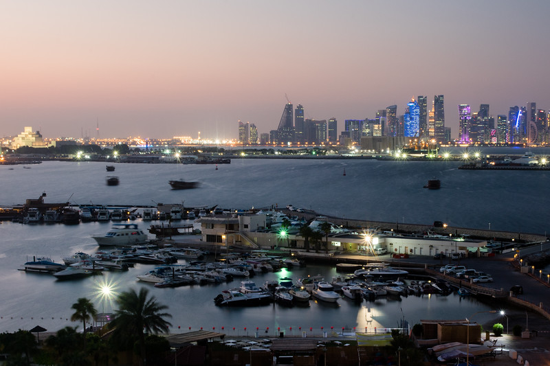 Long-exposure of the harbour area near the Marriott hotel in Doha, Qatar.