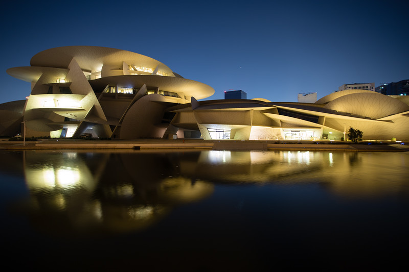 Reflections of modern architecture at the National Museum in Doha, Qatar.