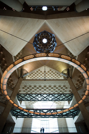 Internal architectural details of the Museum of Islamic Arts in Doha, Qatar.