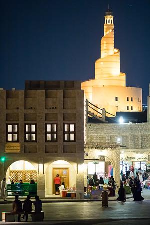 Night in the Souq Waqif area of Doha, Qatar.